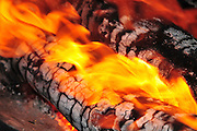 Outdoor cooking burning logs