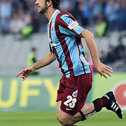 Trabzonspor's Remzi Giray KACAR celebrate his goal during their Turkish superleague soccer match Trabzonspor between Denizlispor at the Avni Aker Stadium in Trabzon Turkey on Monday, 10 May 2010. Photo by TURKPIX
