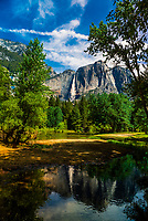 Merced River with Upper Yosemite Fall behind, Yosemite National Park, California USA.