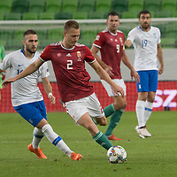 Kostas Fortounis (L) of Greece and Adam Lang (R) of Hungary fight for the ball during the UEFA Nations' League qualifying match between Hungary and Greece at the Groupama Arena stadium in Budapest, Hungary on Sept. 11, 2018. ATTILA VOLGYI