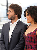 Actor Humberto Carrão and actress Maeve Jinkings at the Aquarius film photo call at the 69th Cannes Film Festival Wednesday 18th May 2016, Cannes, France. Photography: Doreen Kennedy