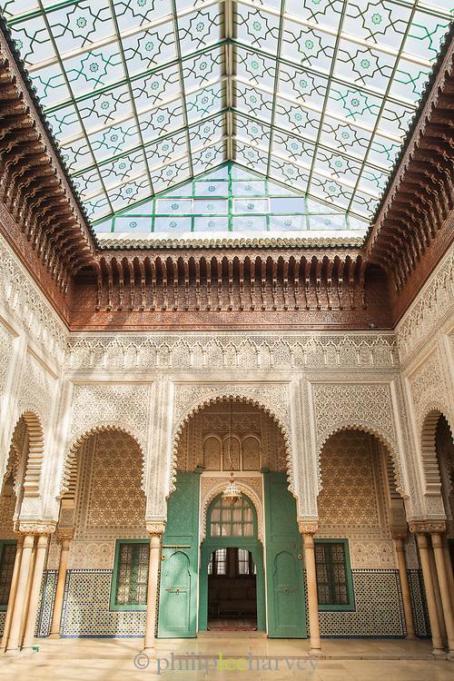 Arches below glass ceiling in Mahkama du Pacha in Casablanca, Morocco