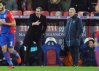 Football - 2016 / 2017 Premier League - Crystal Palace vs. Swansea City<br /> <br /> New Swansea Manager Paul Clement comes down from the stands to join Caretaker Manager Akan Curtis on the side line  at Selhurst Park.<br /> <br /> COLORSPORT/ANDREW COWIE