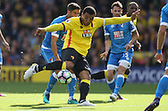 Troy Deeney, the Watford captain taking a shot at goal. Premier league match, Watford v AFC Bournemouth at Vicarage Road in Watford, London on Saturday 1st October 2016.<br /> pic by John Patrick Fletcher, Andrew Orchard sports photography.