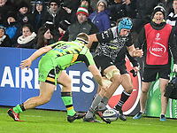 Rugby - 2017 / 2018 European Rugby Champions Cup - Pool Two: Ospreys vs. Northampton Saints<br /> <br /> Justin Tipuric of Ospreys chips ahead, at the Liberty Stadium.<br /> <br /> COLORSPORT/WINSTON BYNORTH