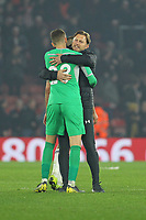 Football - 2018 / 2019 Premier League - Southampton vs. Fulham<br /> <br /> Southampton Manager Ralph Hasenhuttl hugs goalkeeper Southampton's Angus Gunn after the first clean sheet at St Mary's Stadium Southampton<br /> <br /> COLORSPORT/SHAUN BOGGUST