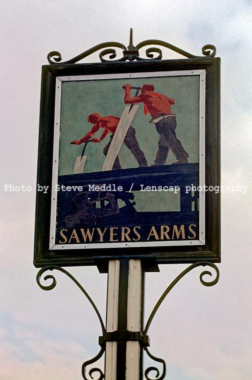 Pub Signs, The Sawyers Arms, Hawkhurst, Kent, Britain