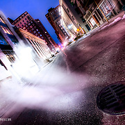 Manhole Steam rising on on Baltimore Street near 9th, downtown KCMO