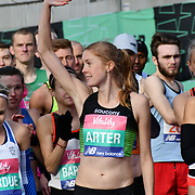 Charlotte Arter at the race start men and women at The Vitality Big Half 2019 on 10 March 2019, London, UK.
