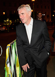 © Licensed to London News Pictures. 24/09/2016. Liverpool, UK. Shadow chancellor JOHN MCDONNELL arrives to celebrate the re-elected of Labour Party Leader Jeremy Corbyn at a party organised by Momentum in Liverpool.  Photo credit: Ben Cawthra/LNP