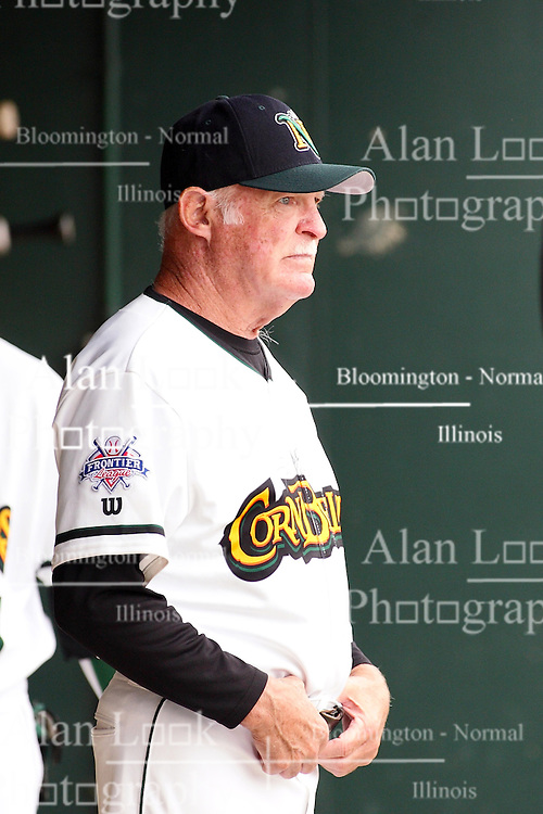 """09 June 2011: Cornbelters Hitting Coach Charles """"Boots"""" Day during a game between the Lake Erie Crushers and the Normal Cornbelters at the Corn Crib in Normal Illinois."""