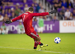 April 21, 2018 - Orlando, FL, U.S. - ORLANDO, FL - APRIL 21: Orlando City goalkeeper Joseph Bendik (1) during the MLS soccer match between the Orlando City FC and the San Jose Earthquakes at Orlando City SC on April 21, 2018 at Orlando City Stadium in Orlando, FL. (Photo by Andrew Bershaw/Icon Sportswire) (Credit Image: © Andrew Bershaw/Icon SMI via ZUMA Press)