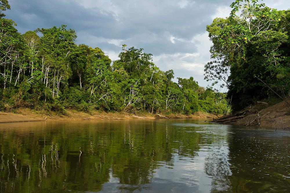 Tiputini River Scenic<br /> Yasuni National Park, Amazon Rainforest<br /> ECUADOR. South America<br /> HABITAT & RANGE:
