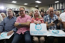 Brexit supporters during a rally at Featherstone Working Man's Club, while on the European Election in Pontefract, West Yorkshire. Picture dated: Monday May 13, 2019. Photo credit should read: Isabel Infantes / EMPICS Entertainment.