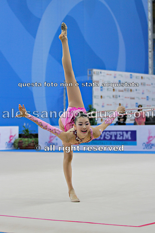 Chun Song E during hoop routine at the World Cup of Pesaro, Italy , 26 April, 2013.  Chun is a Korean individualistic gymnast, born on 1997 in Seul.
