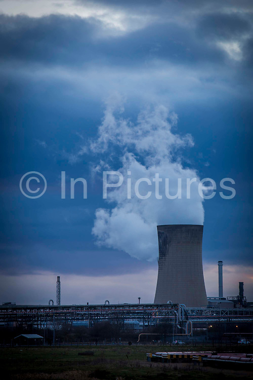 One of the three cooling towers operating at the Frutarom Manufacturing plant on Belasis Avenue, Billingham, Teesside, United Kingdom.