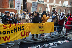London, UK. 31 October, 2019. Low-paid and predominantly migrant St Mary's Hospital Paddington cleaners, caterers and porters outsourced via Sodexo to Imperial College NHS Healthcare trust and belonging to the United Voices of the World (UVW) trade union take part in a coordinated series of 'five strikes in one day' involving also cleaners from the Ministry of Justice, University of Greenwich café workers, cleaners from ITV and Channel 4's offices and park attendants from the Royal Parks. The St Mary's workers are seeking the same terms and conditions as comparable in-house NHS workers and an end to outsourcing.