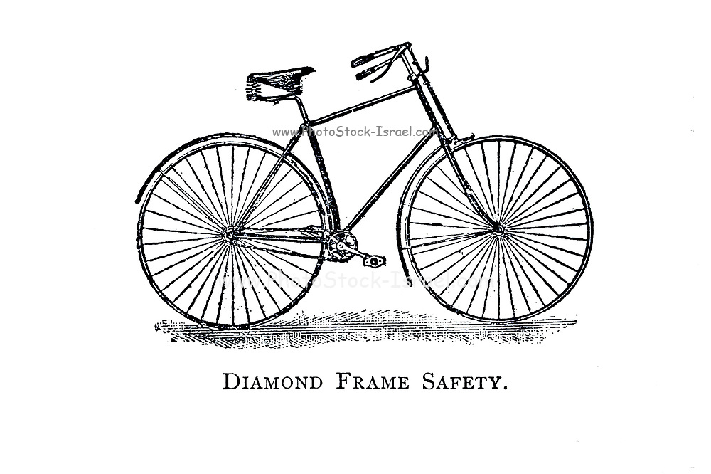 Diamond frame Safety From Wheels and Wheeling; An indispensable handbook for cyclists, with over two hundred illustrations by Porter, Luther Henry. Published in Boston in  1892