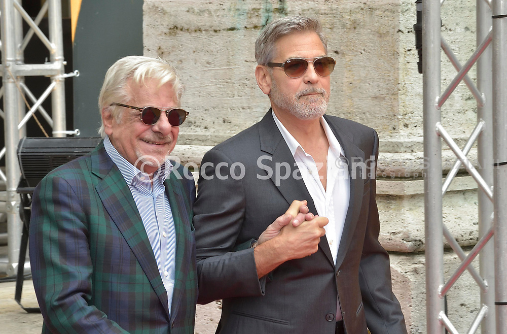 ROME, ITALY - MAY 13: George Clooney and Giancarlo Giannini attends 'Catch-22' Photocall, a Sky production, at The Space Moderno Cinema on May 13, 2019 in Rome, Italy.