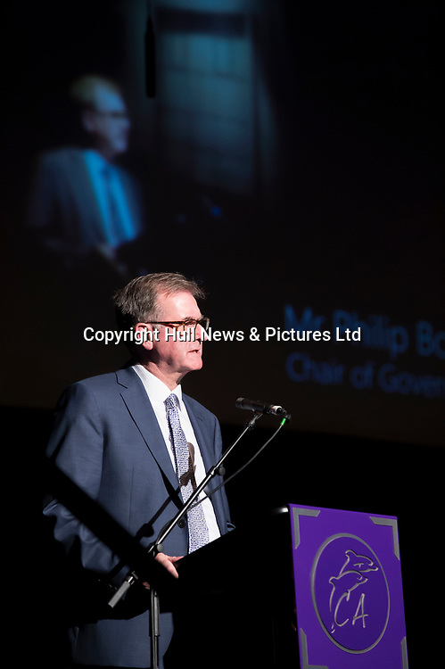 10 October 2017: Cleethorpes Academy Presentation Evening at Grimsby Auditorium. The guest speaker was Aled Jones MBE who presented the awards and also visited the Academy earlier in the day.<br /> Pictured is Chair of Governors Philip Bond.<br /> Picture: Sean Spencer/Hull News & Pictures Ltd<br /> 01482 210267/07976 433960<br /> www.hullnews.co.uk         sean@hullnews.co.uk