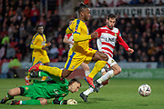 Crystal Palace forward Michy Batshuayi (23) on the attack with a block save from Crystal Palace goalkeeper Wayne Hennessey (13) during the The FA Cup 5th round match between Doncaster Rovers and Crystal Palace at the Keepmoat Stadium, Doncaster, England on 17 February 2019.