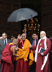 © Licensed to London News Pictures. 14/05/2012. City of London, UK The Dalai Lama leaves St Paul's Cathedral today 14 may 2012 after being presented with the £1.1m Templeton annual prize in his first visit to the Cathedral. The award is for a living person who has 'made an exceptional contribution to affirming the spiritual dimension of life'.. Photo credit : Stephen Simpson/LNP