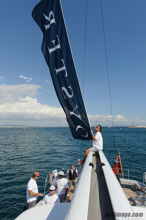 """Palma de Mallorca June 2013 Spain, Peneolpe sailing in the Super yacht Cup 2013 in Palma.<br /> <br /> Penelope is a 30.80m (101'0""""ft) sail yacht built by<br /> Oyster Marine and launched in 2012. This luxury vessel's sophisticated exterior design and engineering are the work of Dubois. Her exterior is styled by the in-house Dubois team who are also responsible for the entire engineering package. <br /> <br /> More information about Penelope: <br /> http://www.oystermarine.com/fleet/100/default.aspx"""