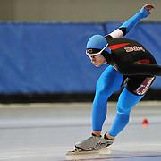 September 18, 2010 - Kearns, Utah - Patrick Meek races in long track speedskating time-trials held at the Utah Olympic Oval.