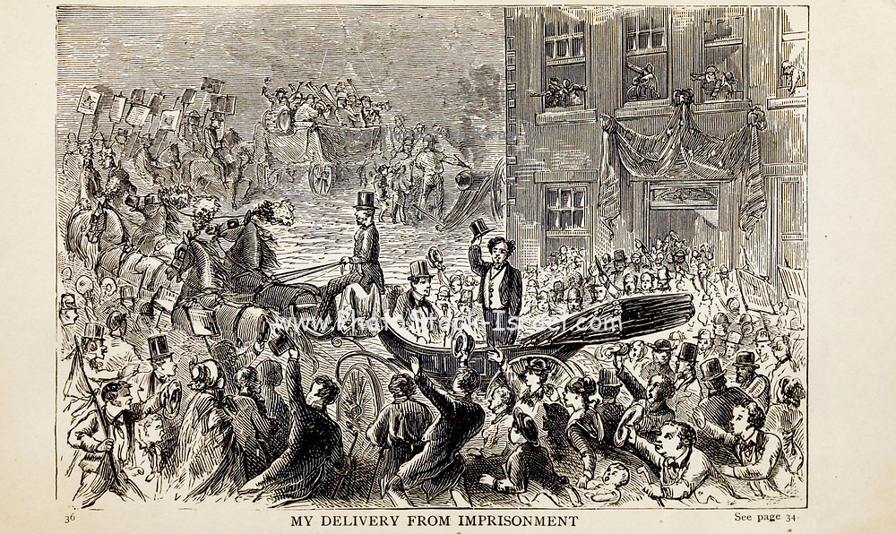MY DELIVERY FROM IMPRISONMENT, From the autobiographical Book ' Struggles and triumphs; or, Forty years' recollections of P.T. Barnum ' By Barnum, P. T. (Phineas Taylor), 1810-1891 Published by <br /> The Courier Company Buffalo, N.Y. in 1879. Phineas Taylor Barnum (July 5, 1810 – April 7, 1891) was an American showman, politician, and businessman, remembered for promoting celebrated hoaxes and for founding the Barnum & Bailey Circus (1871–2017). He was also an author, publisher, and philanthropist,