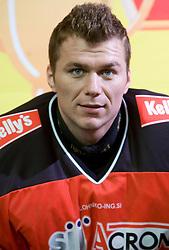 Andrej Hocevar, member of HK Acroni Jesenice ice-hockey team for season 2008/2009 at official photo shooting in Arena Podmezaklja, Jesenice, on September 24, 2008. (Photo by Vid Ponikvar / Sportal Images)