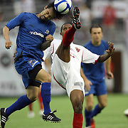 PIttsburgh Riverhounds midfielder Shintaro Harada (21) heads the ball against Orlando City Lions Midfielder Yordany Alvarez (10)during a United Soccer League Pro soccer match between the Pittsburgh Riverhounds and the Orlando City Lions at the Florida Citrus Bowl on May 14, 2011 in Orlando, Florida. Orlando won the game 1-0. (AP Photo/Alex Menendez)