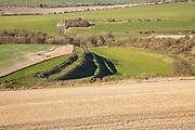 Strip lynchets on chalk valley hillside near Calstone, Wiltshire, England, UK