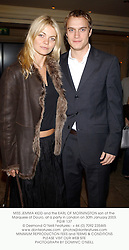 MISS JEMMA KIDD and the EARL OF MORNINGTON son of the Marquess of Douro at a party hosted by Lisa B and Anton Bilton in aid of The International Fund for Animal Welfare at The Mayfair Club, 15 Berkeley Street, London W1 on 30th January 2003.