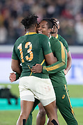 Lukhanyo Am of South Africa and S'busiso<br /> Nkosi of South Africa celebrate after the Rugby World Cup  final match between England and South Africa at the International Stadium ,  Saturday, Nov. 2, 2019, in Yokohama, Japan. South Africa defeated England 32-12. (Florencia Tan Jun/ESPA-Image of Sport)