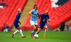 Jill Scott of Manchester City Women competes with Jonna Andersson of Chelsea Women- Mandatory by-line: Nizaam Jones/JMP - 29/08/2020 - FOOTBALL - Wembley Stadium - London, England - Chelsea v Manchester City - FA Women's Community Shield