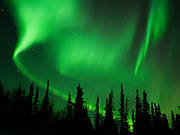 Green Aurora Borealis on night of November 4, 2018., Glacier View, Alaska.  Solar wind creating a Class G2 Geomagnetic Storm arriving from a large coronal hole on the sun.