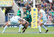 Picture by Andrew Tobin/Focus Images Ltd +44 7710 761829.25/05/2013. Mathew Tait of Leicester is tackled by Tom WOOD of Northampton during the Aviva Premiership match at Twickenham Stadium, Twickenham.