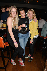 Left to right, FREDERICA LOVELL-PANK, DAVINA HARBORD and POSEY WILSON at the opening party of MODE nightclub, 12 Acklam Road, London on 4th April 2014.