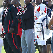 Assistant coach Deion Sanders during the practice session at the Walt Disney Wide World of Sports Complex in preparation for the Under Armour All-America high school football game on December 3, 2011 in Lake Buena Vista, Florida. (AP Photo/Alex Menendez)