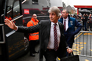 West Ham Utd manager Manuel Pellegrini waves to the fans as he gets off the team bus on arrival at the Vitality Stadium before the Premier League match between Bournemouth and West Ham United at the Vitality Stadium, Bournemouth, England on 19 January 2019.