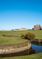 View of famous Swilken Burn crossing the 1st and 18th holes on the  Old Course in St Andrews, Fife, Scotland, UK.