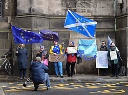 Pictured: Protesters gathered to hear the Court postpone judgement until 21st October.<br /> <br /> Judges at the Court of Session today deferred a decision on a bid by campaigners including SNP MP Joanna Cherry to force Prime Minister Boris Johnson to abide by the so called 'Benn Bill' and seek an extension to the October 31st Brexit date, and to rule that the Court itself can seek an extension.<br /> <br /> © Dave Johnston / EEm