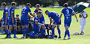 Players celebrate a goal to Agustin Nicholas for Hamilton Wanderers. ISPS Handa Men's Premiership football match between Eastern Suburbs AFC and Hamilton Wanderers at Madills Farm in Auckland. Sunday 21 February 2021. © Coyright image by Andrew Cornaga / www.photosport.nz