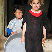 Young children at home. Dahab Island, Cairo.