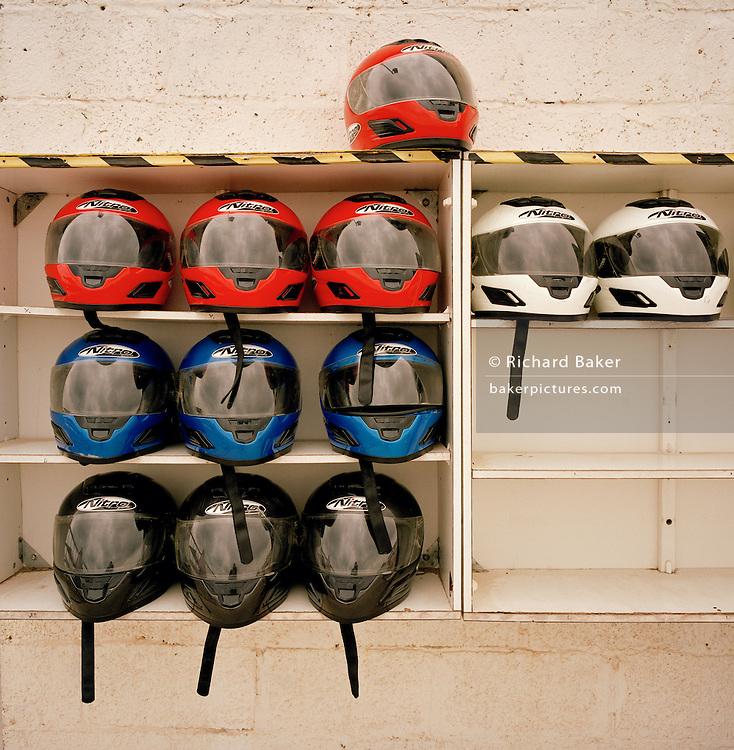 Go-karting helmets awaiting wearers on MoD land at RAF Akrotiri.