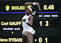 Tennis - 2019 Wimbledon Championships - Week One, Wednesday (Day Three)<br /> <br /> Women's singles, 2nd Round: Cori Gauff (USA) v Magdalena Rybarikova (SVK)<br /> <br /> Cori Gauff  on Court 1with the new roof closed for the first time.<br /> <br /> COLORSPORT/ANDREW COWIE