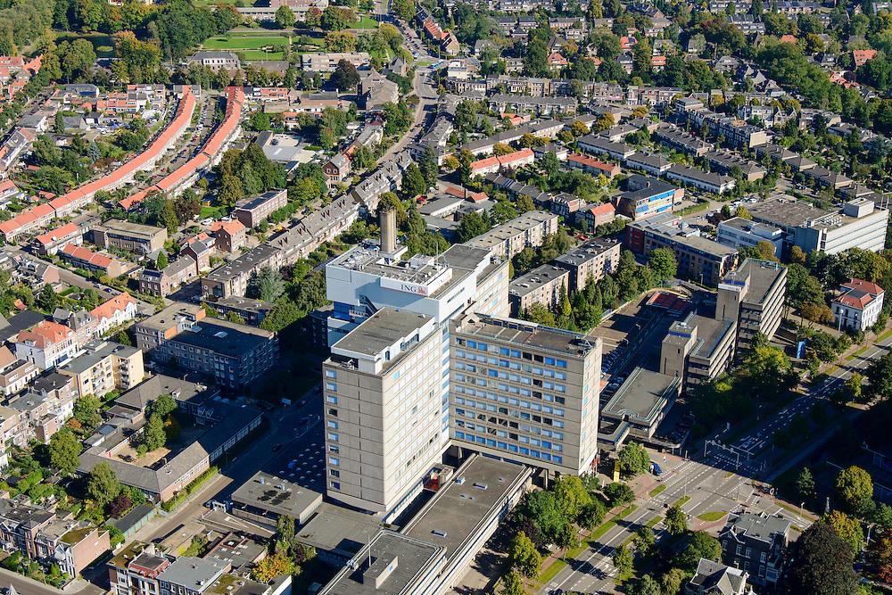 Nederland, Gelderland, Arnhem, 30-09-2015; Oost-Arnhem, Klarendal. Kantoor van ING Bank aan de Velperweg.<br /> Arnhem East with office building ING.<br /> luchtfoto (toeslag op standard tarieven);<br /> aerial photo (additional fee required);<br /> copyright foto/photo Siebe Swart