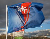 BLOEMENDAAL - EHF vlag tegen mooie wolkenlucht. Euro Hockey League 2015 . COPYRIGHT KOEN SUYK