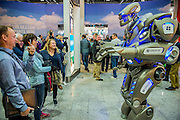 Titan the robot opens the show at the entrance - The London Boat Show opens at the Excel centre. London 06 Jan 2017