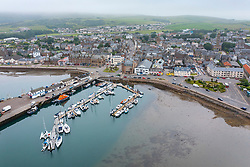 Aerial view from drone of Campbeltown and harbour on Kintyre peninsula , Argyll & Bute, Scotland UK